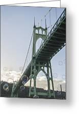Bubbly St.johns Bridge Greeting Card