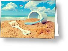 Bucket And Spade On Beach Greeting Card by Amanda Elwell