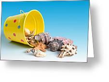 Bucket Of Seashells Still Life Greeting Card