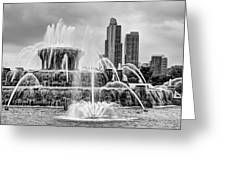 Buckingham Fountain - 1 Bw Greeting Card