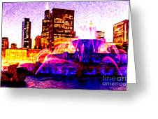 Buckingham Fountain At Night Digital Painting Greeting Card