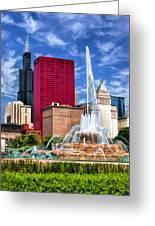 Buckingham Fountain Sears Tower Greeting Card