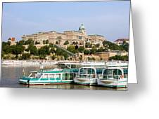 Buda Castle And Boats On Danube River Greeting Card