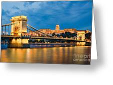 Buda Castle And Chain Bridge In Budapest Greeting Card
