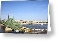 Budapest Cityscape And Liberty Bridge Greeting Card