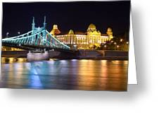 Budapest Night Bridge Greeting Card