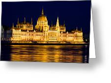 Budapest Parliament At Night Greeting Card