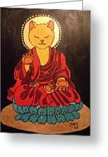 Buddha Cat Asian  Greeting Card