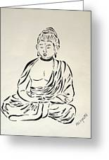Buddha In Black And White Greeting Card by Pamela Allegretto