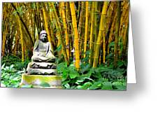 Buddha In The Bamboo Forest Greeting Card