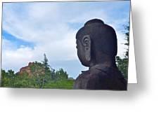 Buddha Statue In Red Rocks Az Greeting Card