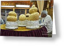 Buddha Figures With Thick Layer Of Gold Leaf In Phaung Daw U Pagoda Myanmar Greeting Card