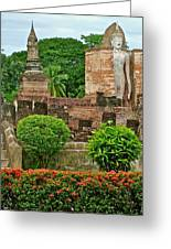 Buddhas In Wat Mahathat In 13th Century Sukhothai Historical Park-thailand Greeting Card