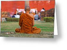 Buddhist Monk At Lumbini In Nepal Greeting Card by Robert Preston