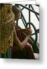 Buddhist Monk Leaning Against A Pillar Sule Pagoda Central Yangon Myanar Greeting Card