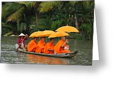 Buddhist Monks In Mekong River Greeting Card by Dung Ma