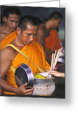 Buddhist Monks Receiving Alms Greeting Card
