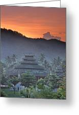 Buddhist Temple At Sunset Greeting Card
