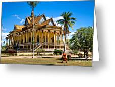 Buddhist Temple In Kratje - Cambodia Greeting Card