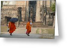 Buddist Monks Visiting Sukhothia Greeting Card