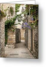 Budva Old Town Cobbled Street In Montenegro Greeting Card