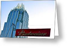Budweiser And Building  Greeting Card