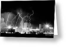 Budweiser Lightning Thunderstorm Moving Out Bw Pano Greeting Card