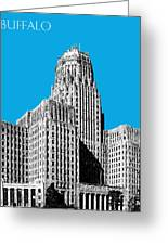 Buffalo New York Skyline 1 - Ice Blue Greeting Card