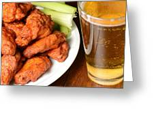 Buffalo Wings With Celery Sticks And Beer Greeting Card