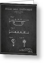 Bugle Call Instrument Patent Drawing From 1939 - Dark Greeting Card