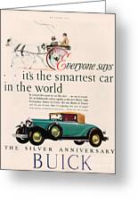 Buick 1928 1920s Usa Cc Cars Horses Greeting Card by The Advertising Archives