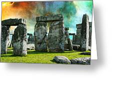 Building A Mystery - Stonehenge Art By Sharon Cummings Greeting Card