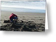 Building A Sand Castle  Greeting Card
