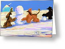 Building A Snowman Greeting Card