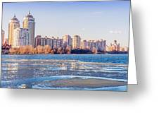 Buildings Close To The Frozen River Greeting Card