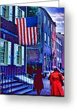 Buildings Flag Bright Red Coat Greeting Card