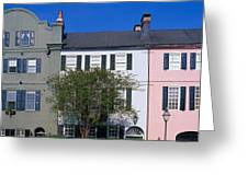 Buildings In A City, Rainbow Row Greeting Card