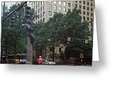 Buildings In A City, Trade And Tryon Greeting Card