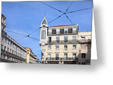 Buildings In The Chiado Neighbourhood Of Lisbon Greeting Card