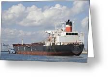 Bulk Cargo Ship Arriving At Port. Greeting Card