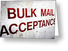 Bulk Mail Acceptance Greeting Card