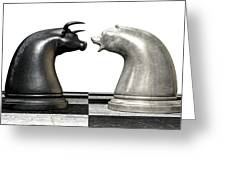 Bull And Bear Market Trend Chess Pieces Greeting Card