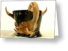 Bull Cup Back View Greeting Card by Troy Howard