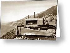 Bull Dozer Road Construction On Highway One Big Sur Circa 1930 Greeting Card