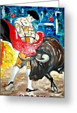 Bull Fighter Greeting Card by Andrea Vazquez-Davidson