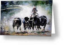 Bull Herd Greeting Card
