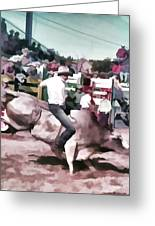 Bull Rider Digital Art  By Cathy Anderson Greeting Card