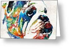 Bulldog Pop Art - How Bout A Kiss - By Sharon Cummings Greeting Card
