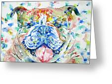Bulldog - Watercolor Portrait Greeting Card