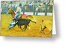 Bulldoggin Cowboys Greeting Card